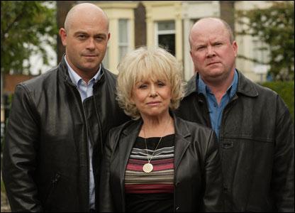 Barbara Windsor with EastEnders co-stars Ross Kemp (l) and Steve McFadden (r)