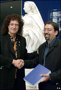 Brian May with Professor Paul Nandra