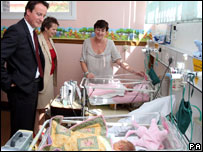Conservative leader David Cameron and Shadow Health spokeswoman Ann Milton meets Marion Cox and her twins  at Horton Hospital in Banbury