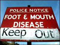 Foot-and-mouth restrictions sign from 2001 outbreak