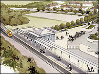 Artist's impression of new Corby railway station