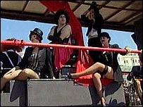 People on a carnival float