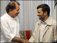 Presidents Daniel Ortega and Mahmoud Ahmadinejad in Tehran, June 2007