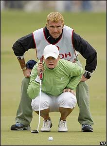 Sweden's Linda Wessberg lines up a putt