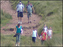 Walkers in the Brecon Beacons