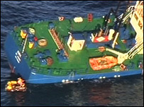 The Jork cargo vessel before it sank(Picture from Search and Rescue team, Wattisham Airfield)