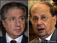 Amin Gemayel, left, and Michel Aoun