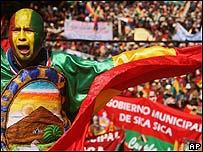 Protesta contra en cambio de la capital boliviana de La Paz a Sucre