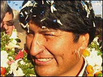Bolivian President Evo Morales in Sucre 5 August