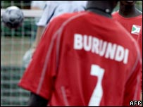 Players from Burundi taking part in the Homeless World Cup in Denmark