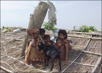 Family on roof in Sirajganj