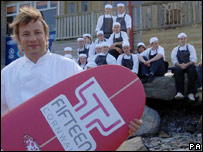 Chef Jamie Oliver with his staff at Fifteen