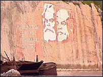 Mural of Marx and Lenin at Saida Bay, Russia