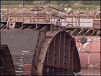 Rusting hulls of Soviet vessels