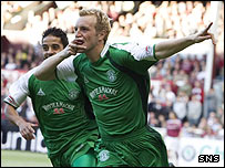 Brian Kerr celebrates his early goal against Hearts