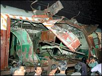 Train bombings wreckage
