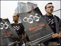 Protesta de Reporteros sin Fronteras en Pekín