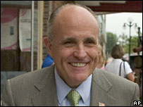 Rudy Giuliani on the campaign trail in Webster City, Iowa, on 6 August 2007