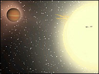 Artist's impression of the exoplanet, Jeffrey Hall/Lowell Observatory