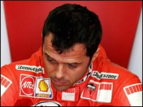 An unhappy looking Loris Capirossi