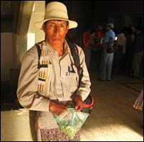 Man chewing coca leaves