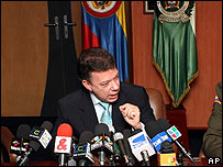 Juan Manuel Santos, ministro de Defensa de Colombia