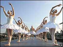 Ballerinas on London's Millennium Bridge