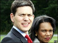 David Miliband and Condoleezza Rice