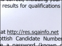 Web address given to candidates