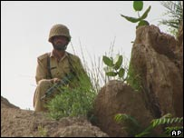 Pakistani soldier near Miran Shah