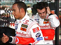 McLaren drivers Lewis Hamilton and Fernando Alonso