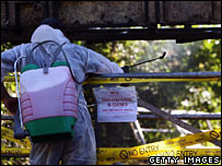 Worker decontaminates cattle equipment