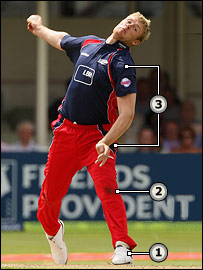 Andrew Flintoff in action for Lancashire at Edgbaston