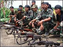 UNLF rebel soldiers with guns