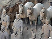 Part of the terracotta army - life-sized sculptures of warriors and horses