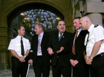 Alex Salmond (centre) with Michael Kerr (left) and John Smeaton (right)
