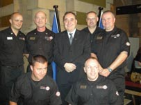 Alex Salmond (centre) meets fire men