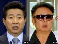 President Roh Moo-hyun (L) and Kim Jong-il