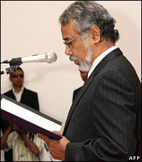 Mr Gusmao at the swearing-in ceremony in the capital, Dili