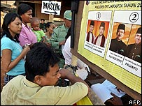 Voters stand near election posters as they wait to cast their ballots in Jakarta - 08/08/07
