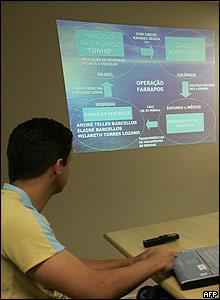 Hombre frente a gráfico sobre la captura de Ramírez Abadía