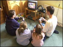 Children using games console