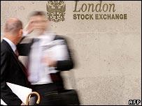 Businessmen outside the London Stock Exchange