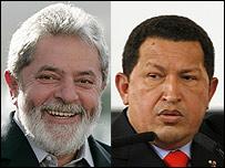 Inazio Lula Da Silva y Hugo Chávez.