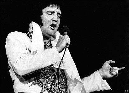 Elvis Presley is shown performing in Providence, RI on May 23, 1977, three months before his death.