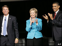 John Edwards, Hillary Clinton and Barack Obama (file picture)