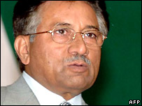 President Musharraf addressing a student gathering in Islamabad in July