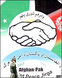 Sign advertising the peace jirga