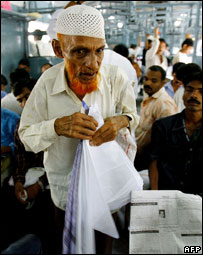 Muslim man in a train in India