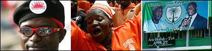 APC supporter in red (Copyright AFP); PMDC supporter in orange (Copyright AFP); green SLPP poster (BBC)